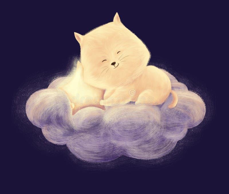 Sueño del gato en la nube ilustración del vector