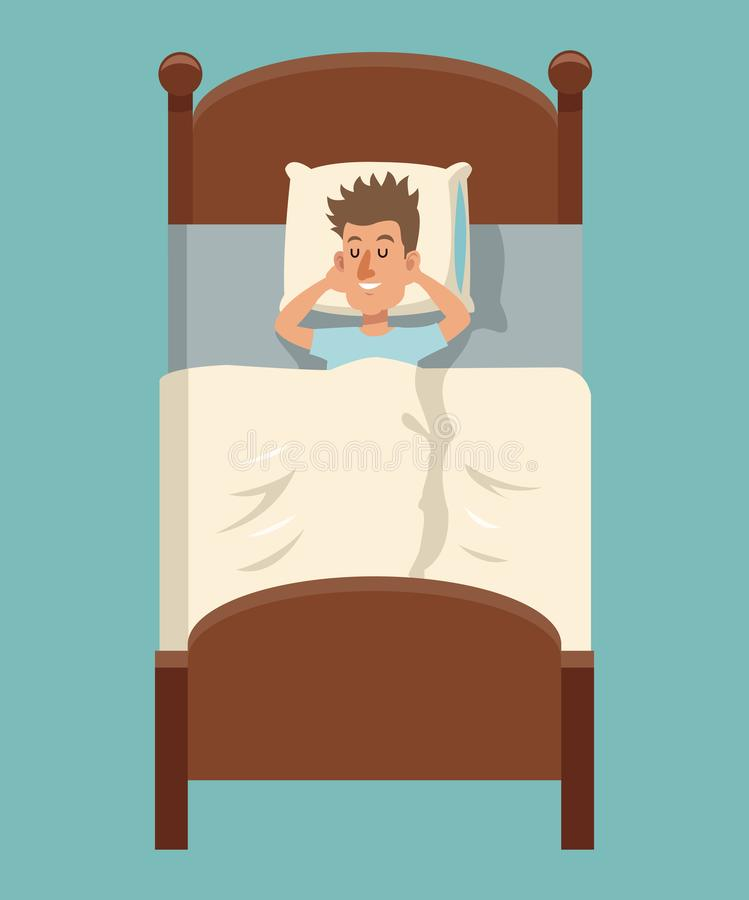 Sueño del hombre de la historieta que miente en cama stock de ilustración
