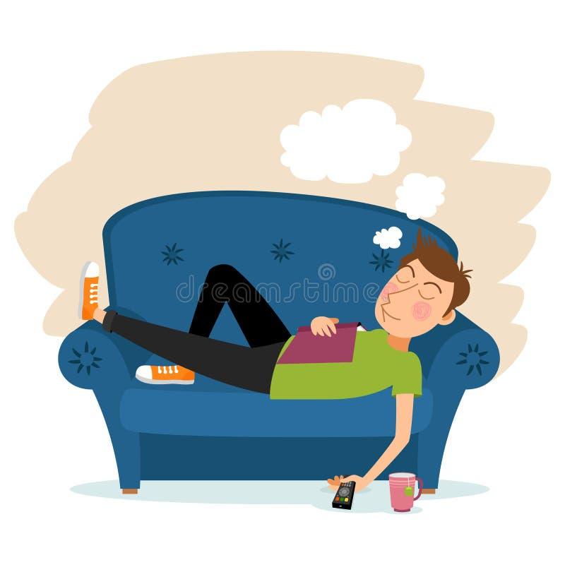Sueño del hombre en el sofá ilustración del vector