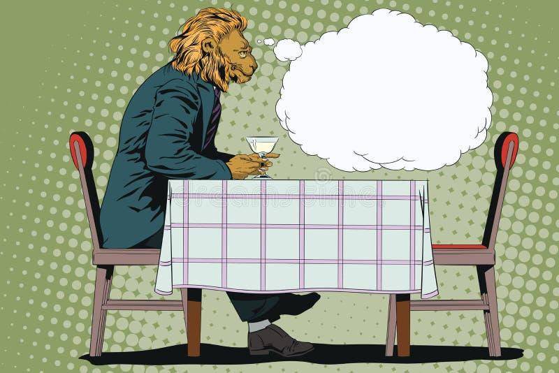 Sueño del hombre León romántico Gente en imágenes de animales ilustración del vector