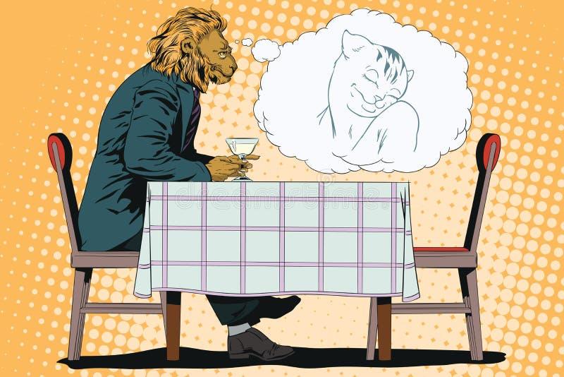 Sueño del hombre León romántico Sueños masculinos de una muchacha Gente en im libre illustration