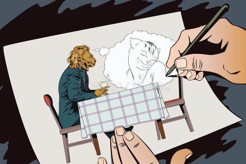 Sueño del hombre León romántico Sueños masculinos de una muchacha Gente en im stock de ilustración