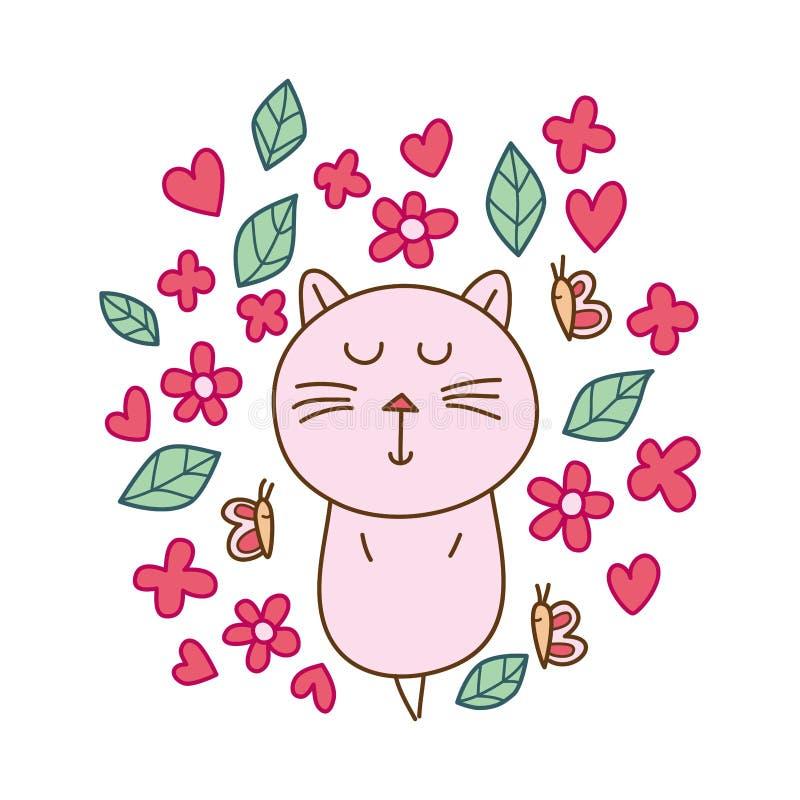 Sueño del zen del gato lindo stock de ilustración