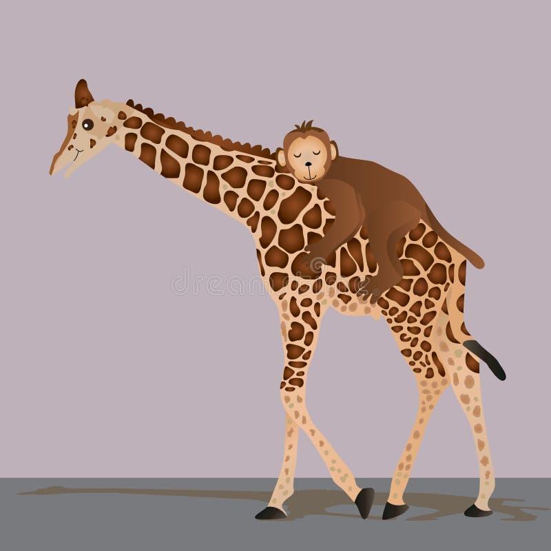 Sueño dulce del mono de la jirafa ilustración del vector