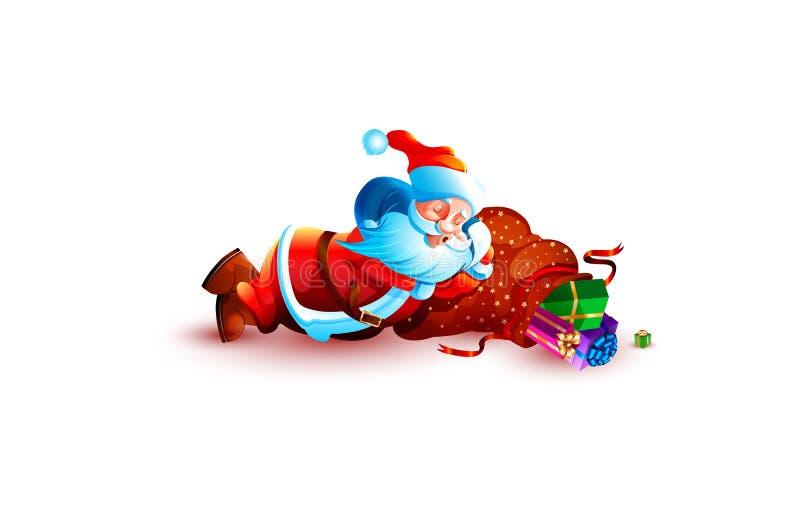 Sueño el dormir de Papá Noel cansado libre illustration