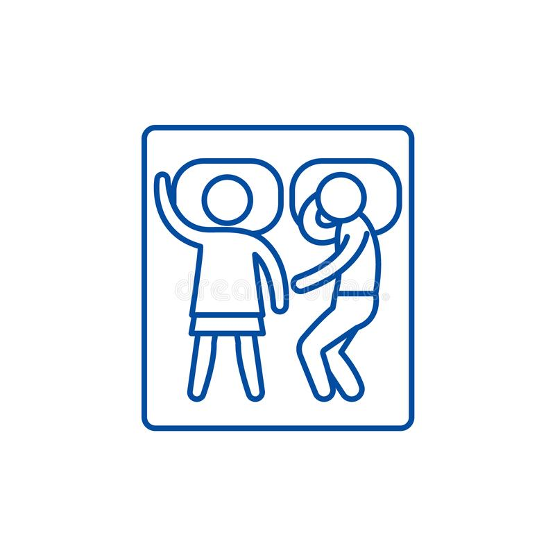 Sueño en una línea concepto de la cama matrimonial del icono Sueño en un símbolo plano del vector de la cama matrimonial, muestra stock de ilustración
