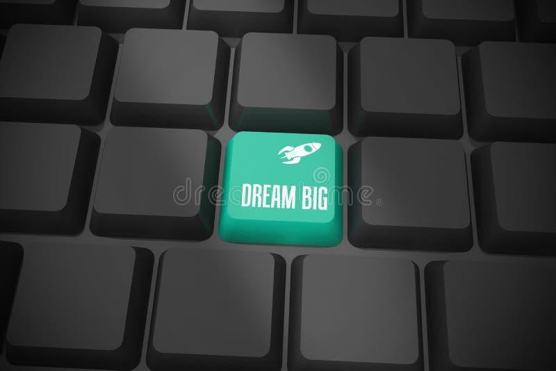 Sueño grande en el teclado negro con llave verde stock de ilustración