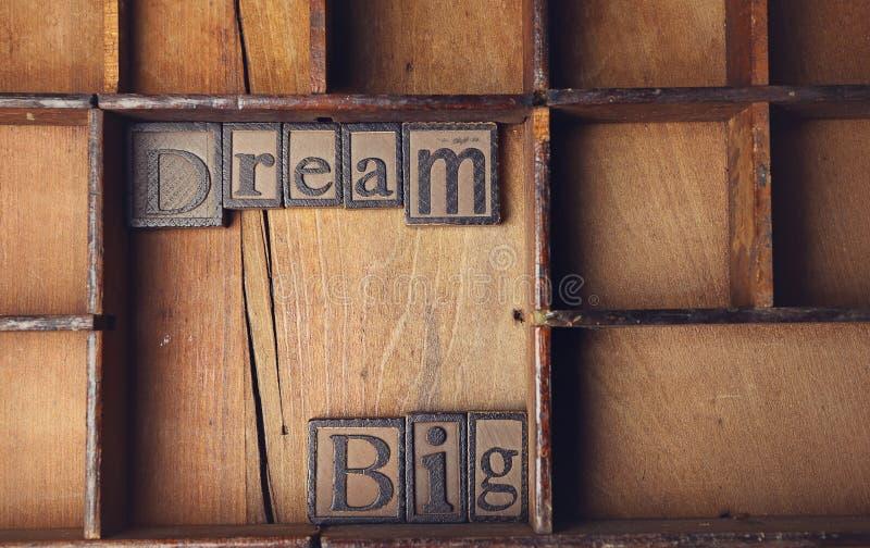 Sueño grande en Letterstock foto de archivo