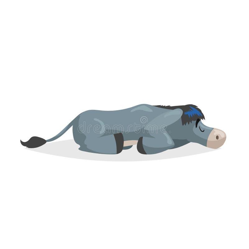 Sueño lindo del burro de la historieta Relaje el animal del campo nacional Ejemplo del vector para la educaci?n o las necesidades stock de ilustración