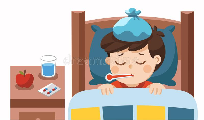 Sueño lindo enfermo del muchacho en cama y sensación tan mala con fiebre ilustración del vector