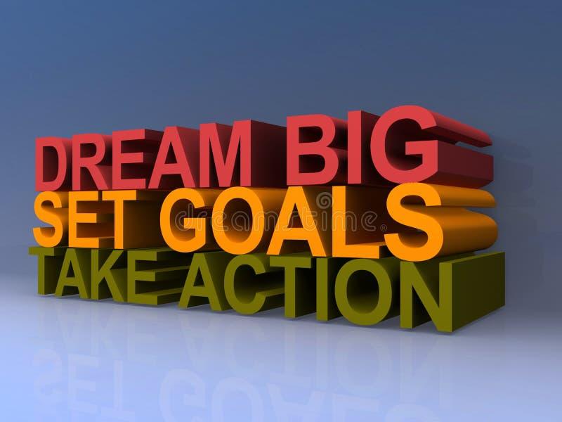 Sueño, metas y acción stock de ilustración