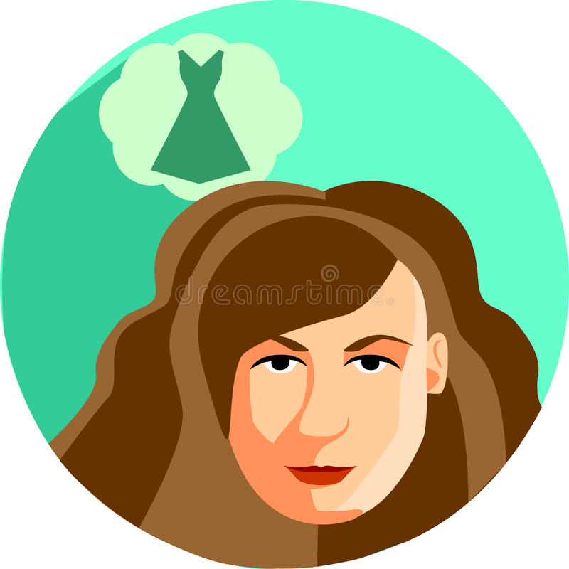Sueños de la mujer de moda de un vestido Estilo plano El brunett de la muchacha ilustración del vector