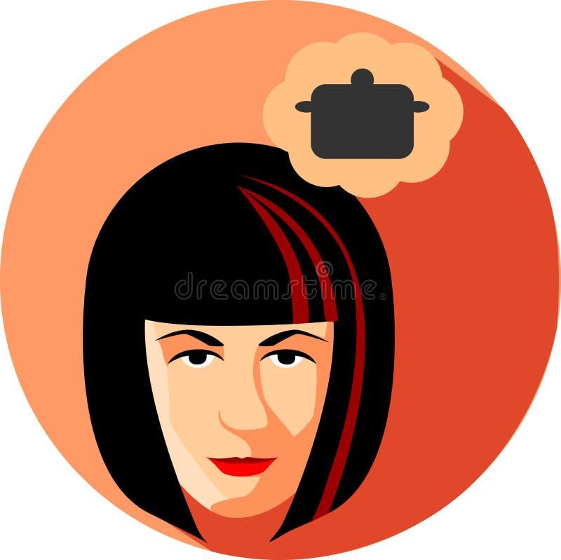 Sueños de la mujer de moda sobre cocinar Estilo plano El brun de la muchacha stock de ilustración
