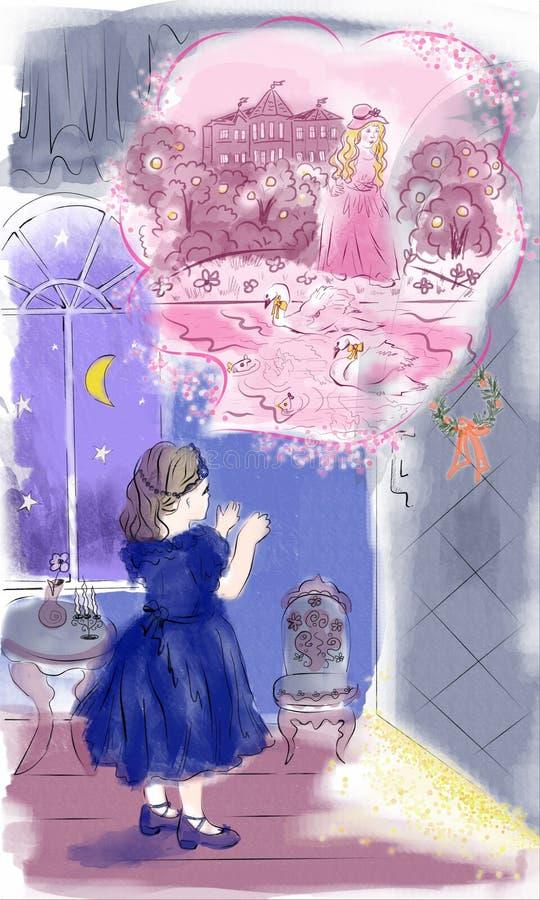 Sueños de la Navidad de la niña stock de ilustración