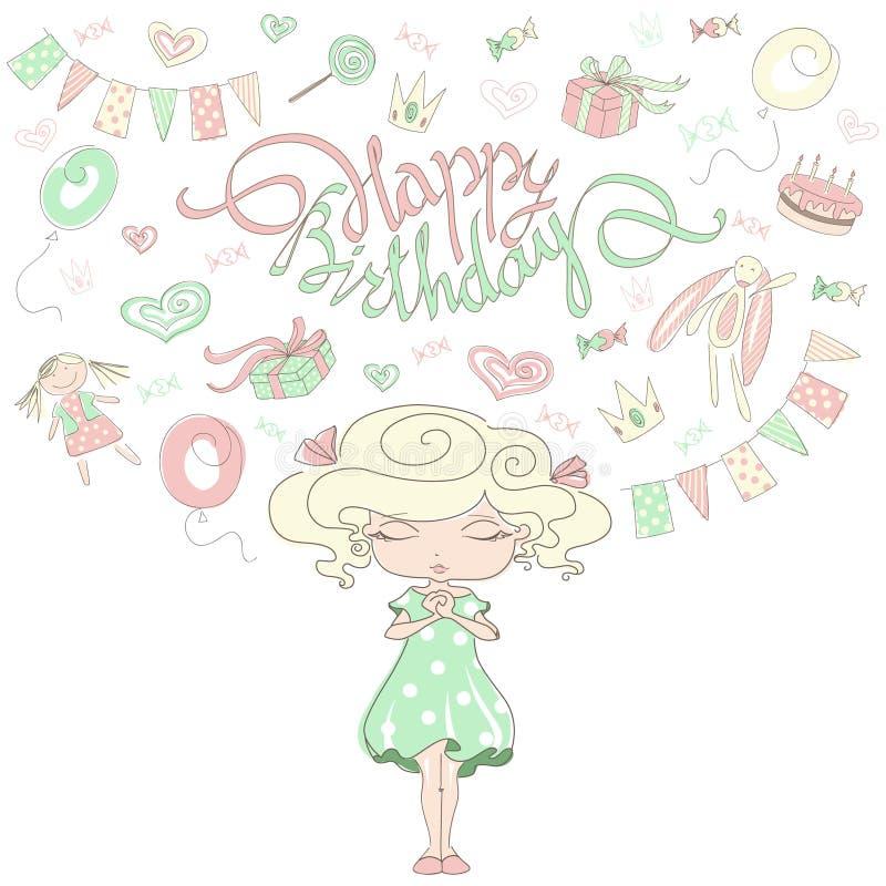 Sueños de la niña sobre una fiesta de cumpleaños ilustración del vector