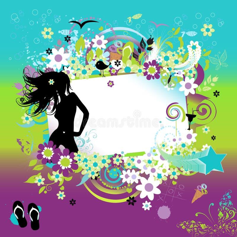 Sueños del verano, tarjeta de felicitación stock de ilustración