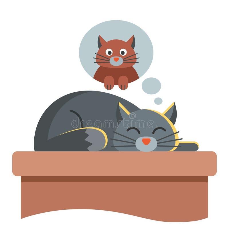 Sue?os lindos del gato de otro gato la mentira en la tabla con los ojos se cerr? ilustración del vector