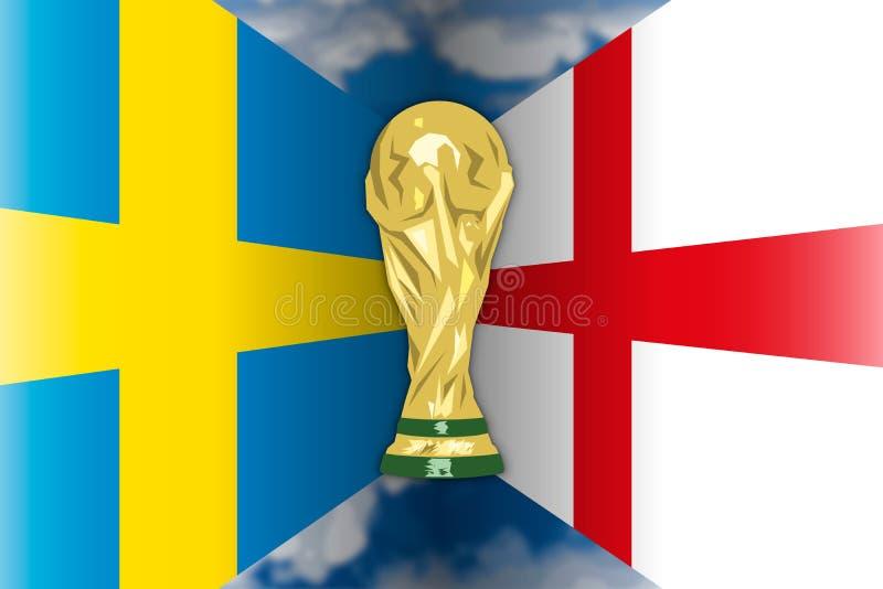 Suecia CONTRA Inglaterra, Rusia 2018, finales cuartos ilustración del vector