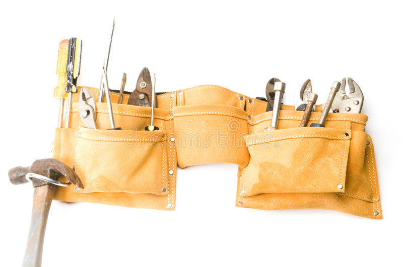 Suede leather tool belt royalty free stock photography