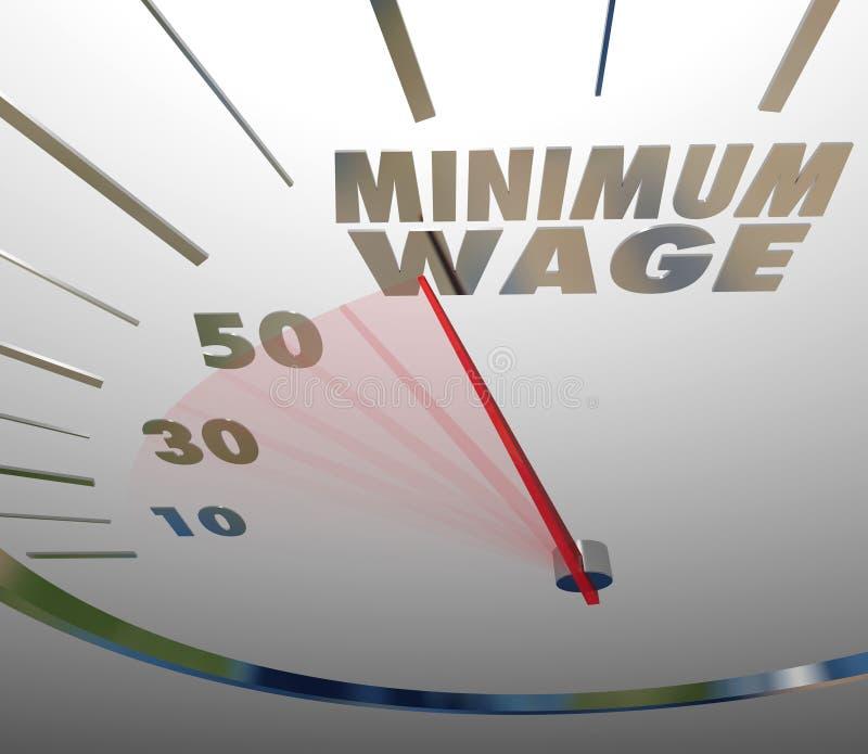 Sueldo bajo Job Working Earnings del velocímetro del salario mínimo ilustración del vector
