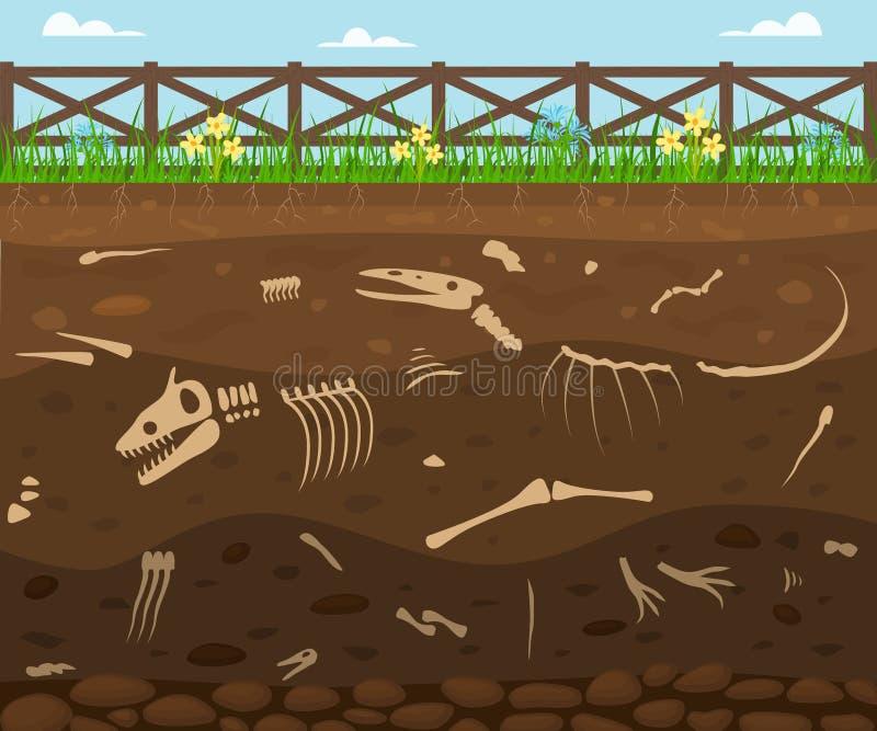 Suelo de la historieta con el fondo de la tarjeta de los animales muertos Vector ilustración del vector