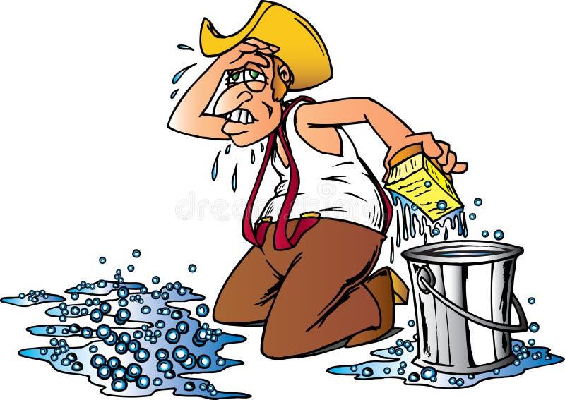 Suelo de la limpieza del vaquero ilustración del vector