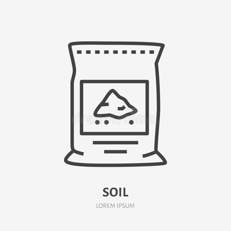 Suelo de las plantas en la línea plana icono del bolso Muestra fina del vector del pachage de la tierra, paquete del cemento Ejem libre illustration