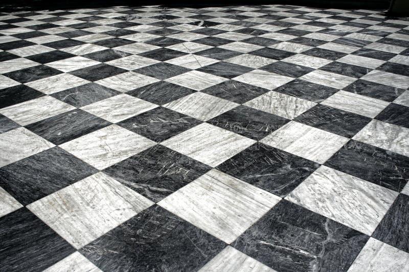 Suelo de mármol negro y blanco foto de archivo