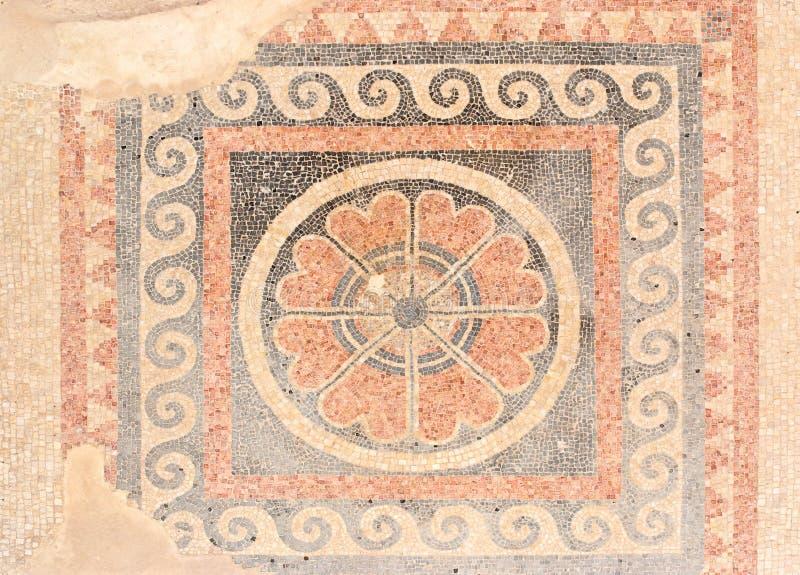 Suelo de mosaico antiguo del palacio de rey Herod en el mA foto de archivo