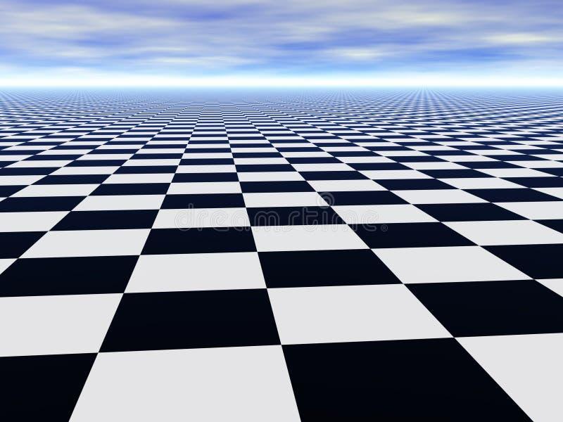 Suelo infinito abstracto del ajedrez y cielo nublado stock de ilustración