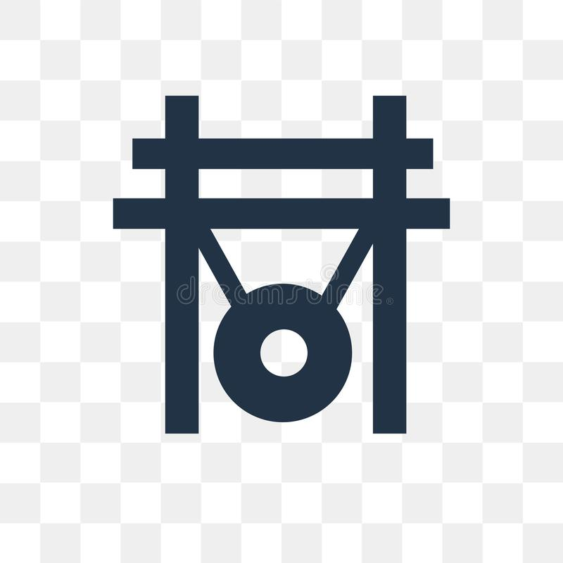 Suene el gongo el icono del vector aislado en el fondo transparente, transporte del gongo libre illustration