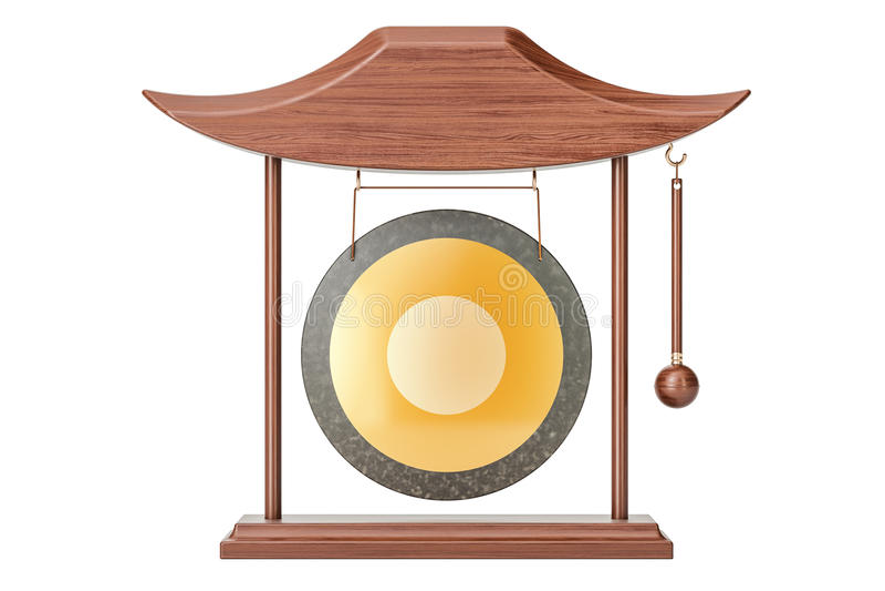 Suene el gongo la ejecución en un marco, representación 3D ilustración del vector