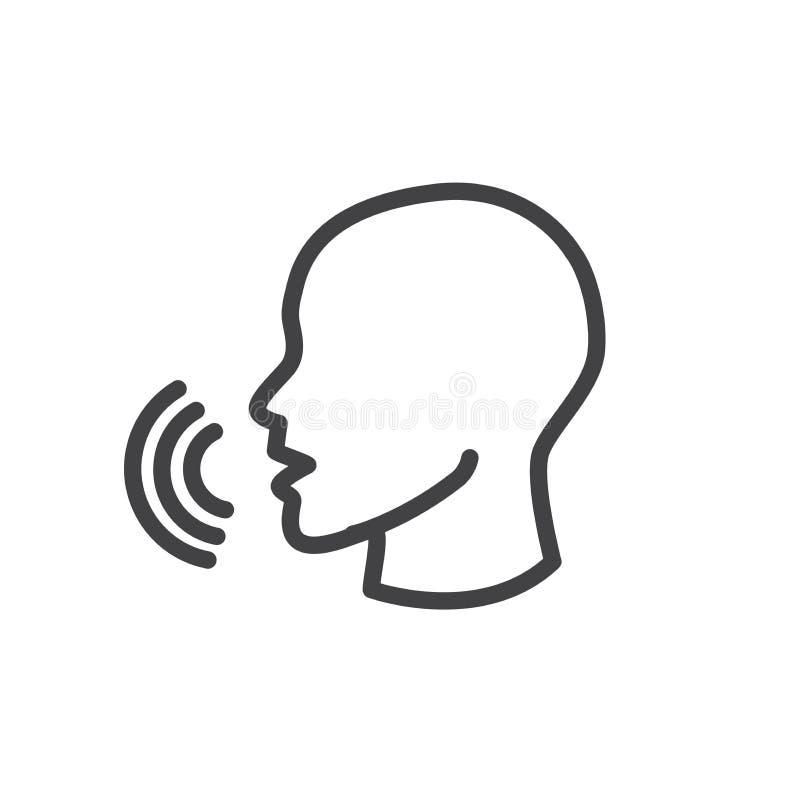 Suene y hable el icono con las formas de soundwave que emanan hacia fuera de libre illustration