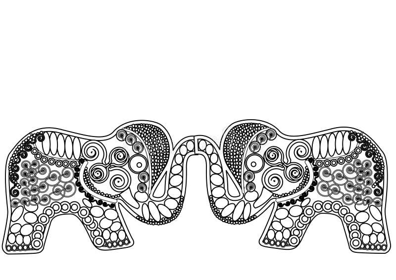 Suerte modelada de los elefantes stock de ilustración