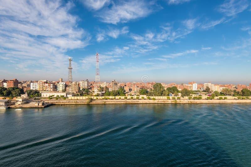 The Suez Canal - Cityscape Of Al Qantara in Egypt. El Qantara, Egypt - November 5, 2017: Cityscape of the El Qantara Al Qantarah on the shore of the Suez Canal royalty free stock photo