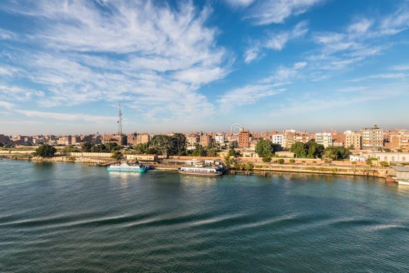 The Suez Canal - Cityscape Of Al Qantara in Egypt. El Qantara, Egypt - November 5, 2017: View of the city El Qantara Al Qantarah on the shore of the Suez Canal royalty free stock image