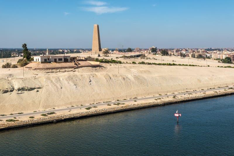 Suez Canal Defence Monument at Ismailia, Egypt. Ismailia, Egypt - November 5, 2017: Suez Canal Defence Monument at Ismalia Commerating the Defence of the Canal stock photo