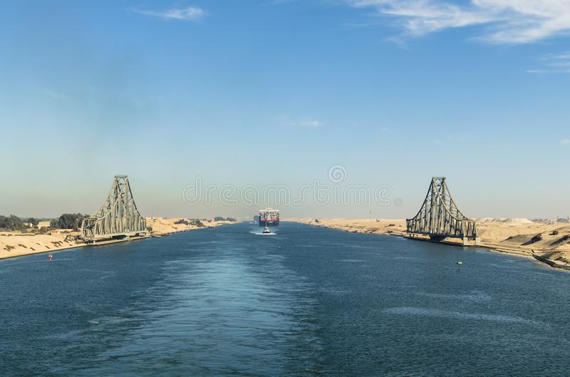 Panoramic view of the El Ferdan Railway Bridge, the longest swing bridge in the world,Egypt stock images