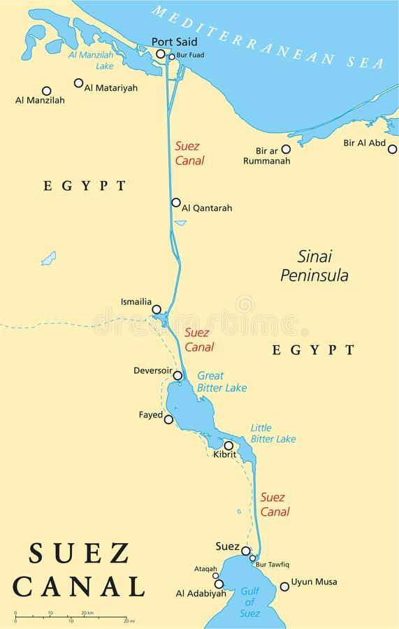 Suez Canal Political Map. Artificial sea-level waterway in Egypt, connecting the Mediterranean Sea and the Red Sea. English labeling and scaling. Illustration vector illustration