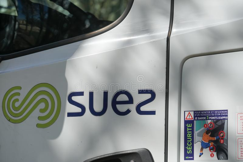 Suez Environnement company sign. Paris, France - March 19, 2019: SUEZ emblem. Suez Environnement SA is a French-based utility company which operates largely in royalty free stock image