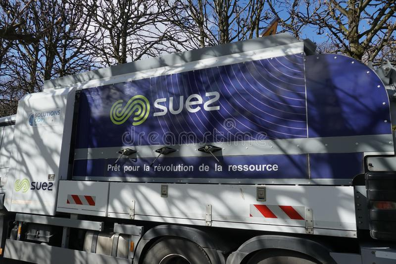 Suez Environnement company sign. Paris, France - March 19, 2019: SUEZ emblem. Suez Environnement SA is a French-based utility company which operates largely in royalty free stock photography