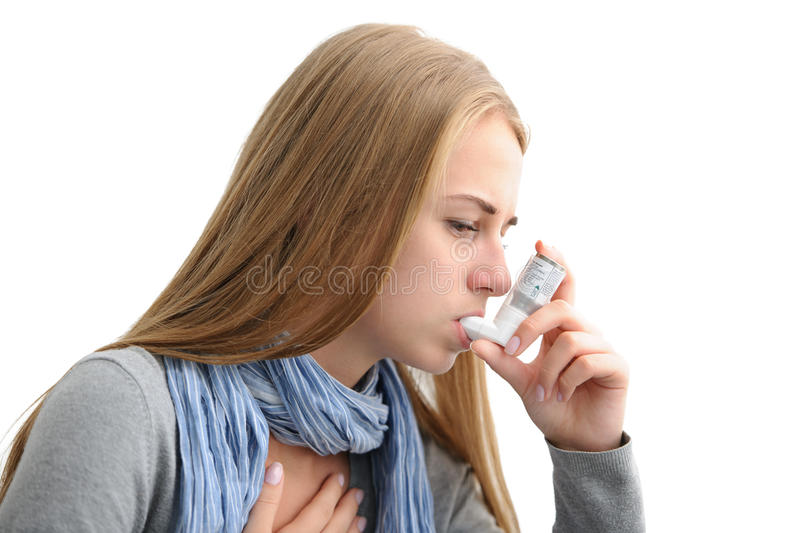 Download Suffering from asthma stock image. Image of inhale, help - 33257175
