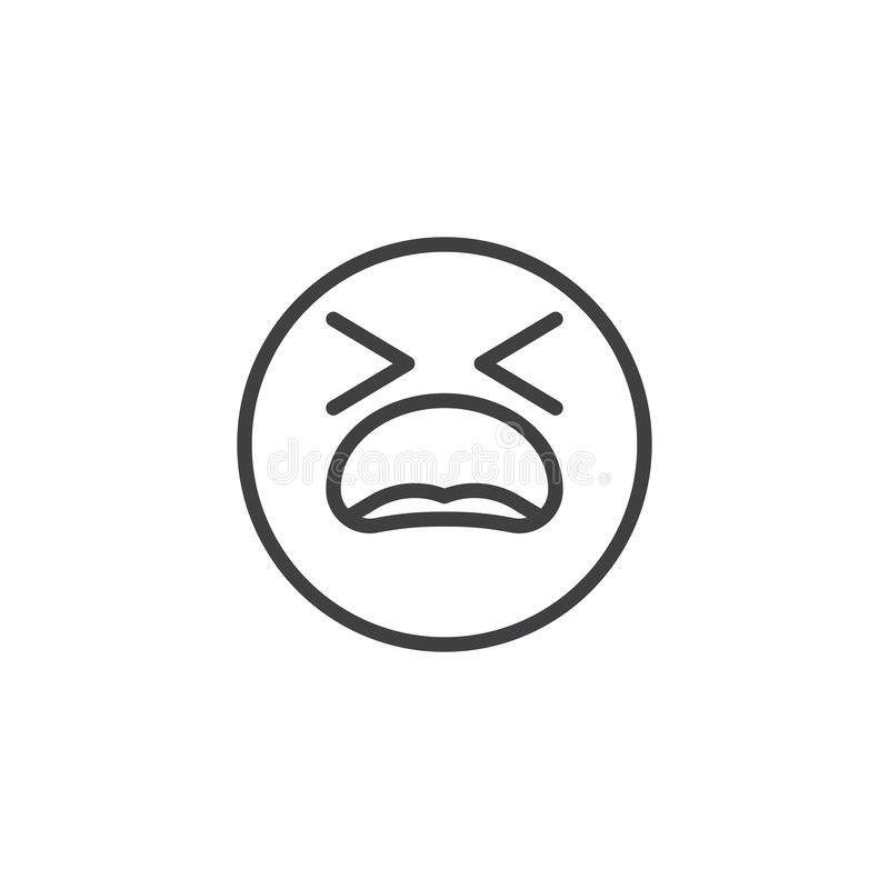 Suffering Face emoji line icon. Linear style sign for mobile concept and web design. Tired Face emoticon outline vector icon. Symbol, logo illustration. Vector royalty free illustration