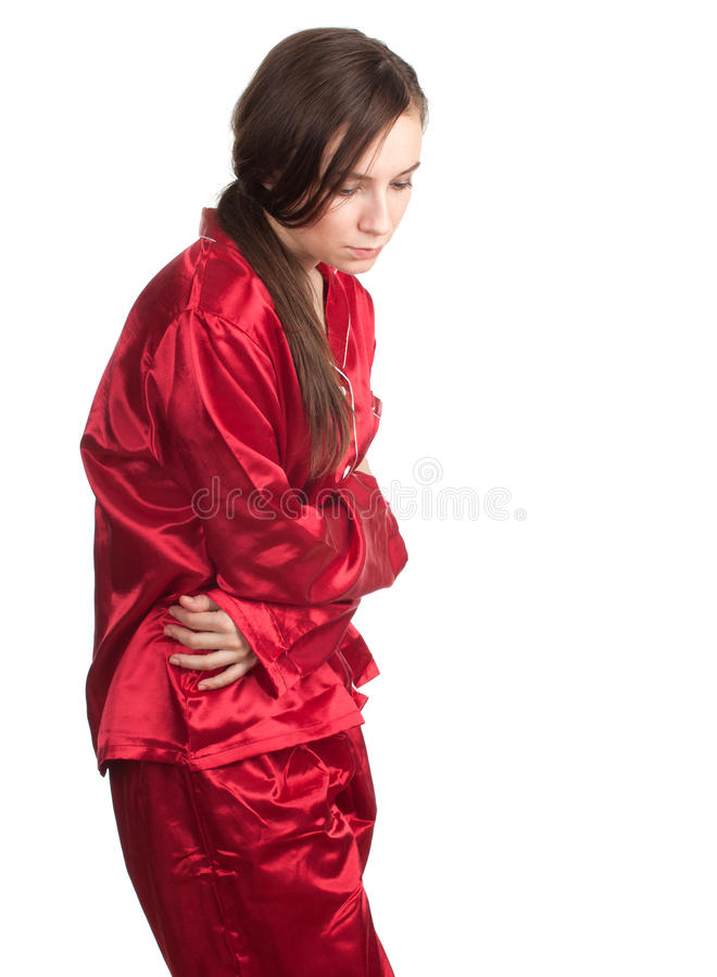 Suffering From  Pain Of Stomach Stock Photography