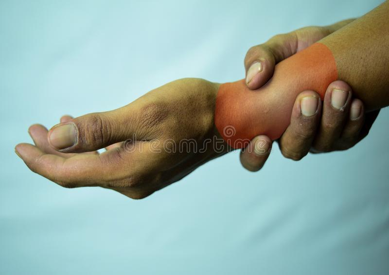 Suffering Relieving Repetitive Strain Injury royalty free stock photos