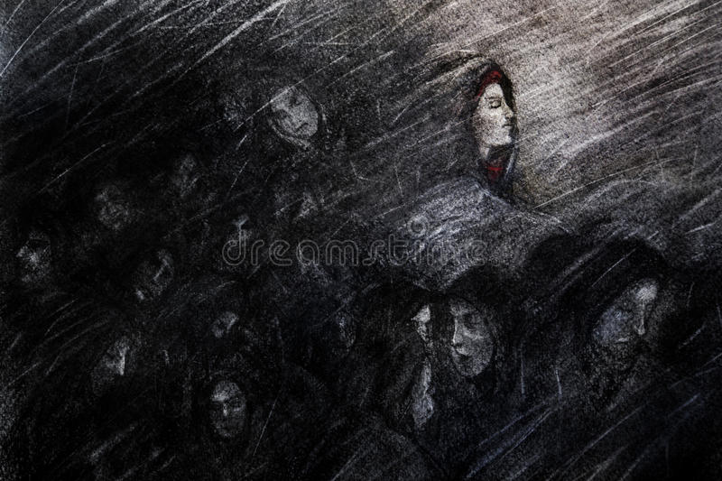Suffering the storm. A charcoal artistic concept drawing of a group of people huddle in a storm. Concept for emerging from an ordeal or seeing the light amongst royalty free stock image