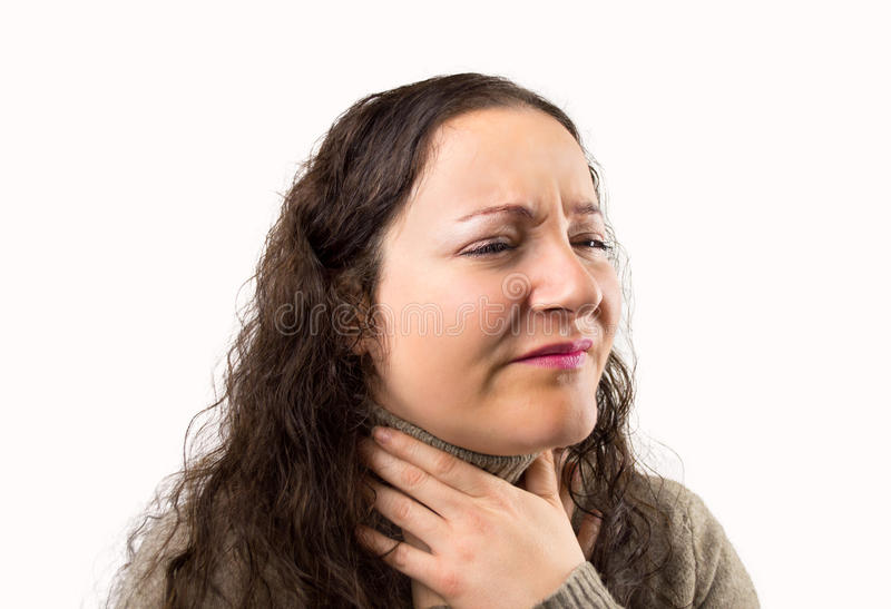 Suffering from throat problemswith royalty free stock images