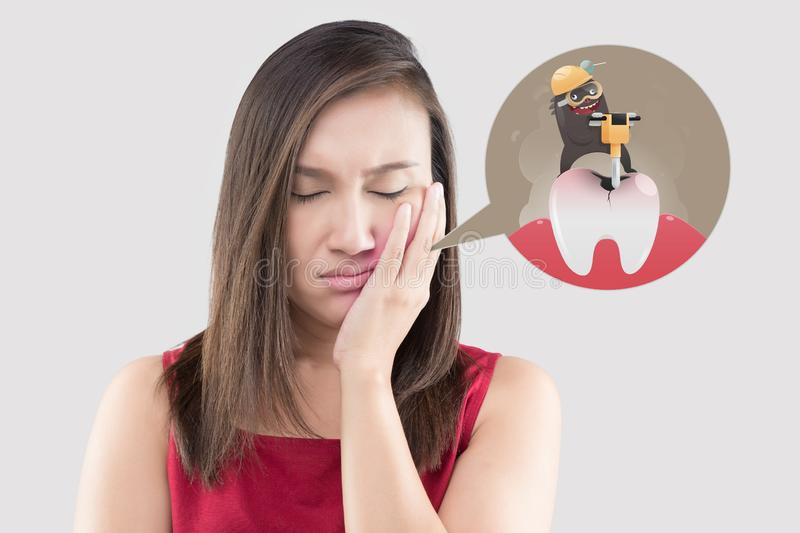 Suffering from toothache. royalty free stock photography
