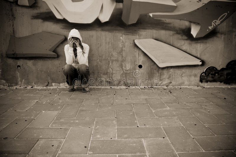 Download Suffering woman on wall stock photo. Image of dramatic - 5064354