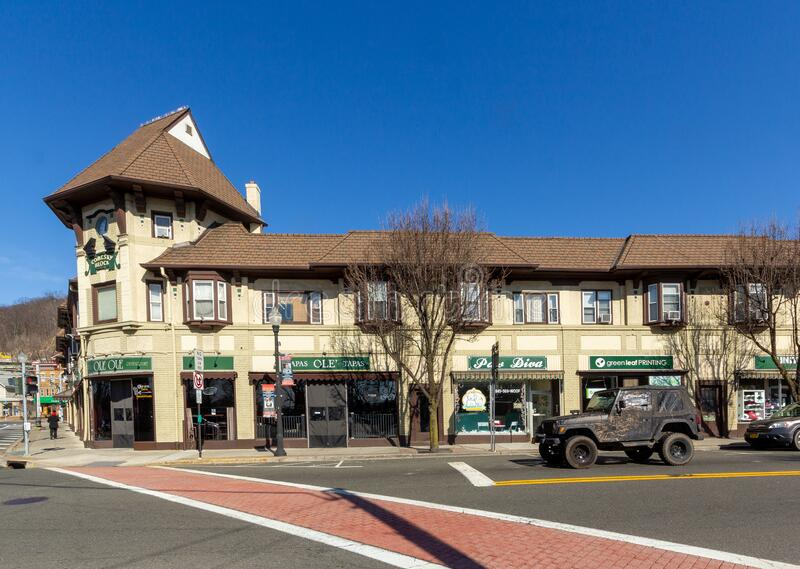 Suffern, NY / United States - Feb. 17, 2020: A landscape image of downtown Suffern`s Lafayette Avenue. A horizontal view of downtown Suffern`s Lafayette Avenue stock photos